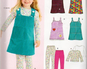 New Look 6639, Girls Sizes 3 to 8, Jumpers, Leggings and Long Sleeve , Tops Pattern, Easy Pullover Jumper and Top, Pull On Leggings