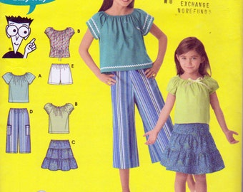 Simplicity 4206, Girls Size 7,8,10, 12, 14, Summer Clothes, Capri Pants, Tank Tops, T Shirt Top Tiered Skirt, Pullover Tops, Pull on Shorts