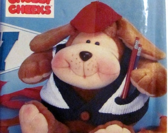 Simplicity 7416, Chubby Cheeks, Varsity Vic, Dog Stuffie, 8 inch Tall Stuffed Dog Sewing Pattern, Vintage Simplicity Sewing Pattern Dog
