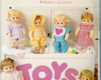 Butterick 6505, Baby Doll Clothes Sewing Pattern, for 16 Inch Dolls, Top, Pants, Nightgown, Bib, Jacket, Panties, Bonnet, Playsuit, Uncut