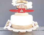 Plane wedding topper - shabby chic style personalised cake topper