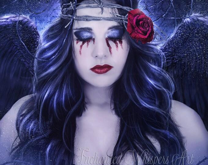 Dark Gothic Angel portrait art print