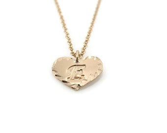 Initial Personalized gold Necklace. heart initial necklace, dainty initial necklace, gift for her, initial pendant, initial jewelry