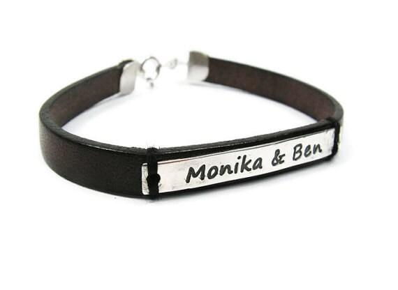 couples leather bracelet personalized bracelet sterling