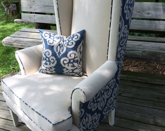 Neutral Wingback with Blue Ikat Back