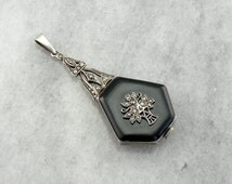1930's Black Onyx and Marcasite Swiss Made Pendant Watch ZWE113-R