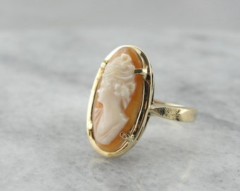 Elongated Cameo Cocktail Ring, Vintage 1950's Cocktail Style  A1NTV9-R
