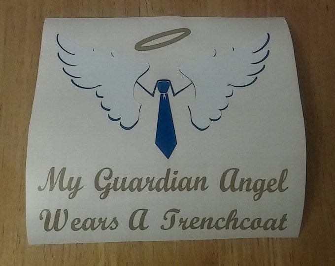 Supernatural Castiel My Guardian Angel Wears a Trenchcoat Angel Wings and Tie Vinyl Decal