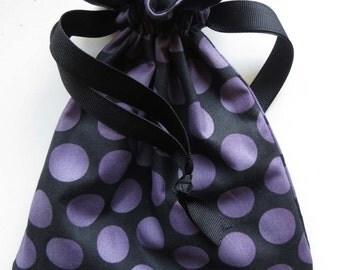 Purple Polka Dot Lined Fabric Drawstring Bag - Halloween