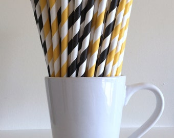 Yellow and Black Paper Straws Golden Yellow and Black Striped Pittsburgh Steelers Party Supplies Batman Party Decor Bar Cart  Graduation