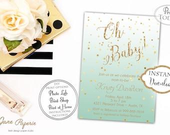 INSTANT DOWNLOAD - Mint Ombre Baby Shower Invitation - Gold Glitter Ombre Invite - Oh Baby Invitation - Gold Confetti - 0162