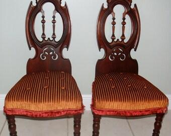 Pair 1800u0027s Walnut Gothic Childrenu0027s Chair With Velveteen Upholstery Petite  Childu0027s Chair Butler Chair