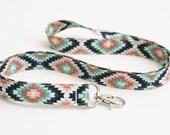 Fabric Lanyard - Navy, Teal, Coral Tribal Print - Cute Key Lanyard - Nurse or Teacher Lanyard - 3/4 Inch Wide Key Strap - 19.5 Inch Drop