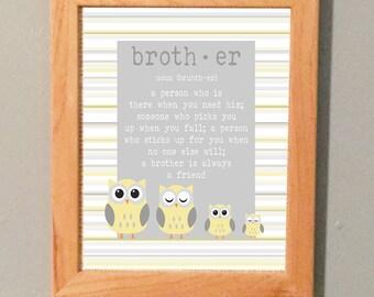 Nursery Brother Owl Print Printable Wall Art Yellow Gray