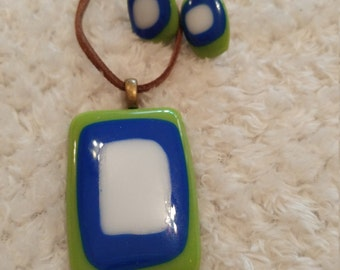 Fused Glass Pendant Necklace and Earring Set
