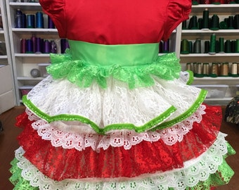 Red, white and green 3T Toddler Christmas dress can be personalized with her monogram for free