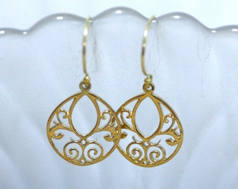Large Round Filigree 24K Vermeil Yellow Gold Earrings , From Canada , Wedding , Bridal , Valentines , Anniversary Gift