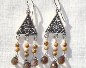 Smoky Quartz Picture Jasper Earrings, Sterling Silver Bali Style Earrings, Dangle Earrings, Gemstone Earrings, Wire-wrapped Earrings