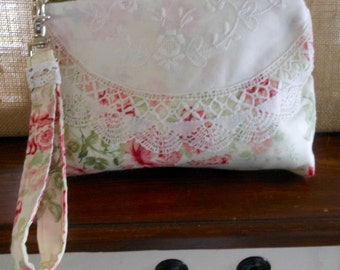 Linen and Vintage Lace Clutch Cosmetic Bag Jewelry Pouch