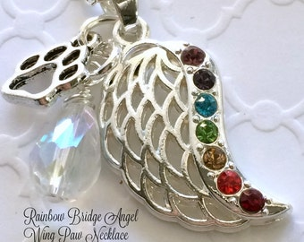 Rainbow Bridge Angel Wing Necklace, Symbolic  Paw Teardrop Necklace, Pet Loss Necklace,  Pet Loss Gift, Pet Memorial, Pet Rembrance