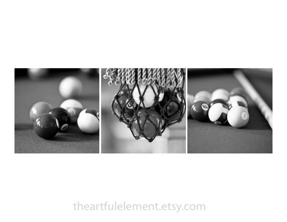 Billiards decor, Pool room decor, Game room decor, Wall art set, Black and white picture, Set of 3, Bar art, Game room / Billiards photo set