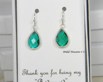 Teal Green/ Silver Bridesmaids Teardrop Earrings, Teal Green Earring Bridesmaid Gift, Teal Blue Drop Earrings Personalized Note  - TD