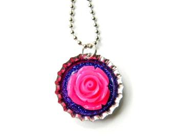 NEW 3D Flower - Bottle Cap Necklace