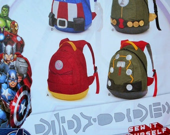 Simplicity Sewing Pattern 8108 Super Heroes Backpacks, Childs' Backpacks, Kids' Backpacks, Backpack Pattern, Avengers Backpacks