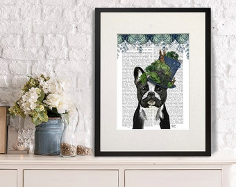 French Bulldog art Milliners Dog Print French Bulldog Print colorful wall art Dog wall décor Nursery Art for Kids Room dog art nursery dog