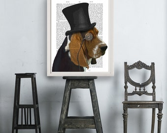 Basset Hound Print - Formal Hat - Groomsman gift dorm decor home office décor gifts for men gifts for boyfriend gift for husband classy dog