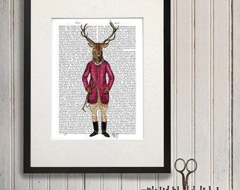 Deer Art Print - Deer Rider - equestrian gift equestrian decor equestrian art equestrian print deer print Groomsman gift man cave decor