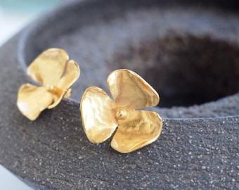Goldplated silver flower earrings, large stud earrings