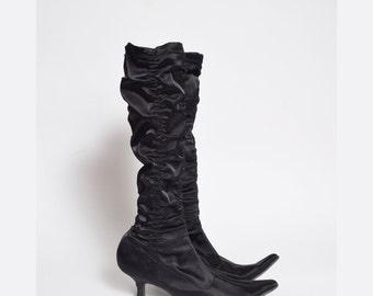 Vintage 90's Black Satin Sock Boots