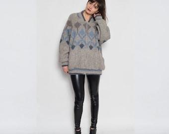 Vintage 80's Wool Zipper Men Winter Sweater