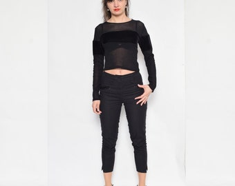 Vintage 90's Mesh Sheer Top / Long Sleeve Sheer Blouse / See Thru Black Blouse / Sheer Crop Top - Size Small