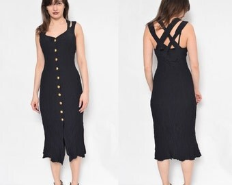 Vintage 80's Black Button maxi Dress / Criss Cross Black Dress / Sleeveless Calf Black Dress