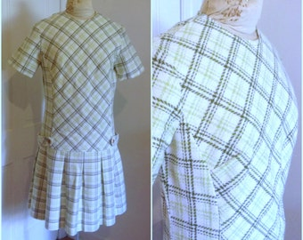 1960s Green Plaid Scooter Dress Vintage // large 10 12 mad men mini sixties summer white stripe