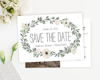 Watercolor Greenery Save the Date Card, Postcard, Feminine