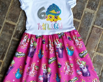"""Girls Shopkins appliquéd """"Cupcake Queen"""" Dress with embroidered name and birthday number"""