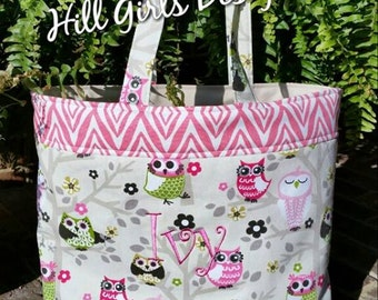 Monogrammed Owl Tote Bag with pockets and Monogram or Name