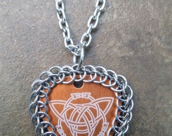Chainmaille Wrapped Auminum Guitar Pick Pendant
