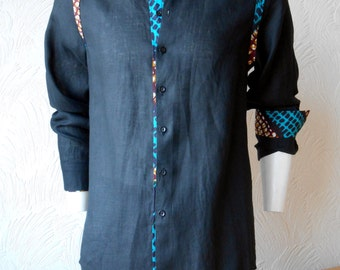Men's wear /Casual dress shirts detailed and finished with African style Print Fabric