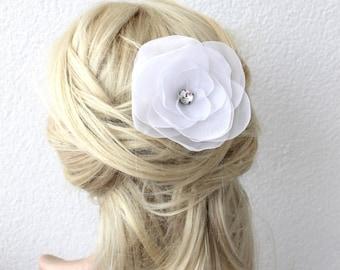 white flower hair pin, bridal accessory, brides flowers, rhinestone bead