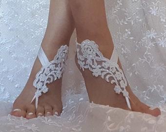 Snow white Beaded wedding sandal bridal shoe beach wedding lace barefoot sandals