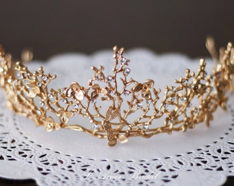 SALE-Golden Goddess Wedding Crown Circlet Wreath with Golden Leaves, Small Flowers and Little Butterflies