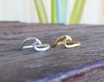 Wave Ring. Gold Vermeil Ring. Boho Jewelry. Hip Jewelry. Chic Jewelry. Hammered Surf Girl Gift. For Her. Handmade Hawaiian Jewelry.