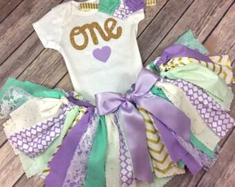 3 Piece Lavender Purple, Mint / Teal / Aqua, Gold Birthday Outfit Including Onesie/Shirt, Fabric Tutu, & Headband, Mermaid, Under the Sea