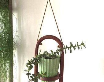 Walnut Hanging Plant Holder