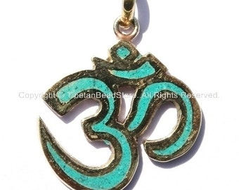 Sanskrit Om Pendant with Brass & Turquoise Inlay - WM1171