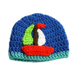 Nautical Baby Hat, Sailboat Applique, Boys Beanie, Newborn Baby Boy, Hospital Hat, Sailor Hat, Boat Beanie, Nautical Boys, Toddler Boy, Kids
